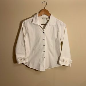 White button up blouse with crochet detail